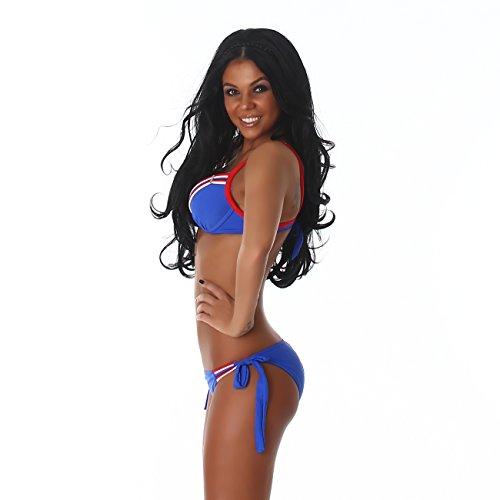 Damen Bikini im maritimen Look, ein eleganter Zweiteiler mit vielen eleganten Details Blau