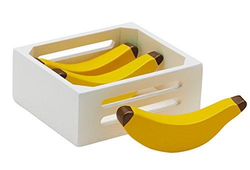 Kids Concept Bananen Box Holzspielzeug Obstkiste 4er-Pack 12x10x4,5cm, Gelb (Bio-lebensmittel-körbe, Geschenke)
