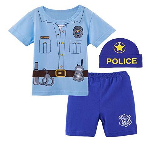 Mombebe Baby Jungen Polizei Shirt Sets mit Hüte (18-24 Monate, ()