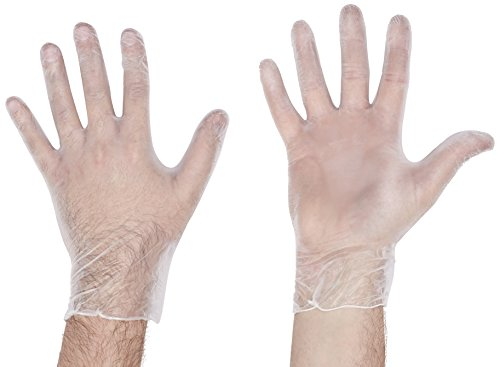 handsafe hea00314 non poudrés Gants en vinyle,, Large, transparent (Lot de 100)