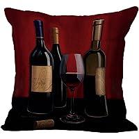 Chezmax misto lino romantico rosso vino modello cuscino federa copricuscino in cotone 45,7x 45,7cm, Red Wine, WITH FILLER