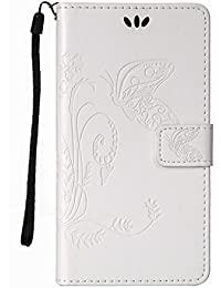 HTC Desire 626Case, HTC Desire 626Case [con patrón de flores y mariposas, protector de pantalla gratuito], Nanxi PU Funda de piel para HTC Desire 626, HTC Desire 626(Protectora blanco LG G5