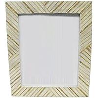 DonRegaloWeb - Portafotos nácar Blanco con toques Dorados 20x25 cm