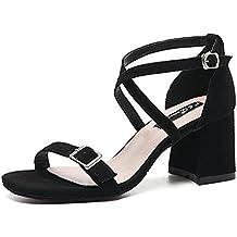 Sandalias Verano Zapatos de Tacó Correa de Tobillo Sandalias de Gruesos Elegantes y Acogedor
