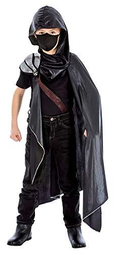Das Kostümland Assassin Kämpfer Kostüm für Kinder - Schwarz - Gr. 128 (Schwarze Assassinen Kostüm)