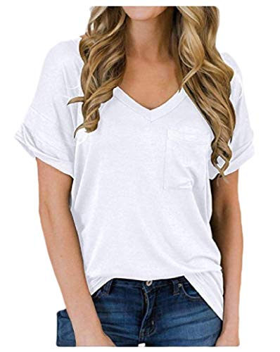 CuteRose Women's Casual Pockets Shirts Solid Batwing Sleeve Slim V Neck Henley White M Bow Tie Solid Light
