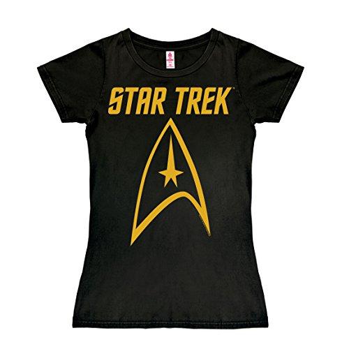 Logoshirt Series de Televisión - Star Trek - Enterprise - Emblema - Camiseta para Mujer - Negro - Diseño Original con… 1
