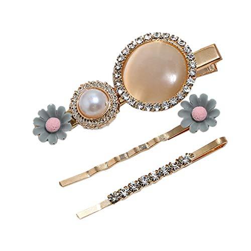 Hmeng 3 Stücke Acryl Haarnadeln Haarspangen Haarschmuck mit Diamant für Frauen Mädchen Kostüm Zubehör (Braut Kostüm Make Up)