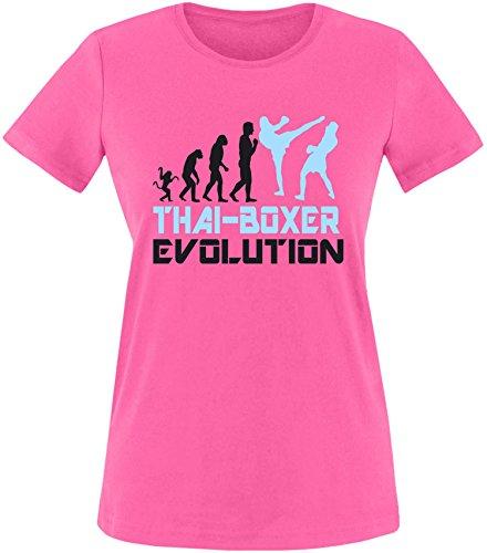 EZYshirt® Thai Boxing Evolution Damen Rundhals T-Shirt Fuchsia/Schwarz/Hellbl
