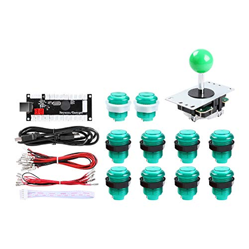 Hikig LED DIY Arcade Game Machine Parts Kit, 10x LED Arcade Buttons + 1x 5 Pin Arcade Stick + Zero Delay USB Encoder für PC Windows System & Raspberry Pi 1/2/3, Grün -