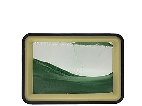 Deerbird® Bewegende Sand-Zeichnung, Abstrakte Landschaft Fließende Sandplatte mit Transparente Flüssigkeit und 2 farbig Solide Kunststoffrahmen Sandkunst Desktop Dekoration (grüner Sand)