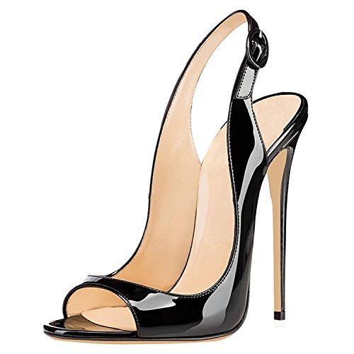 uBeauty Damen High Heels Peep Toe Sandalen 120MM Stiletto Slingback Pumps Open Toe Klassischer Übergröße Schuhe Schwarz 38 - Open Toe Schwarz Pumps
