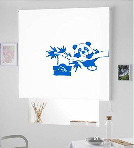 Regalos Originales - Cortina ESTORES ENROLLABLES TRANSLUCIDO Infantil Personalizado con Nombre Osito Panda (100x175, Azul Royal)