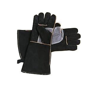 Guantes de piel resistentes al fuego con costuras de Kevlar, ideales para chimenea, estufa, horno, parrilla, soldadura…