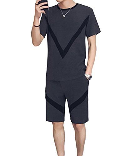 Herren Leinen Sets Für Denn Alltag Sport Yoga Jogging Zweiteiliges Kurzärmliges T-Shirt Und Shorts Grau 2XL