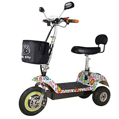 KSITH Elektroroller, Falten Mit LED-Licht Dreirad Tragbar Für Mini Erwachsene Lithium-Batterie Fernbedienung Batterie Auto