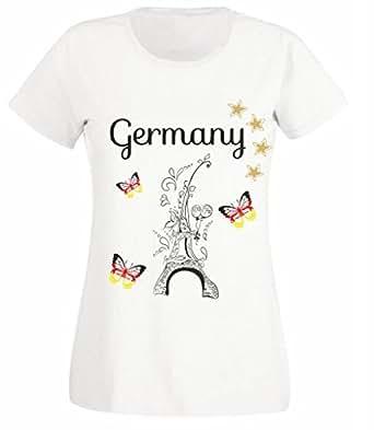 Damen T-Shirt Fußball Deutschland Europameisterschaft EM 2016 Motiv 12 Eiffelturm Schmetterlinge