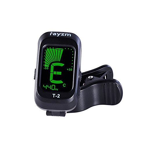 Rayzm Gitarren-Tuner/Stimmgerät, Clip-on Tuner für Chromatische/Gitarre/Bass/Ukulele/Violine, Übersichtliches LCD Display, Kalibrierter Pitch, Batterie Inklusive, Auto Power Off
