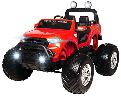 Actionbikes Motors Kinderauto Elektroauto Ford Ranger Monster - Lizenziert - 4 x 45 Watt Motor - Multimedia Touchscreen - Allrad - 2-Sitzer (Rot)