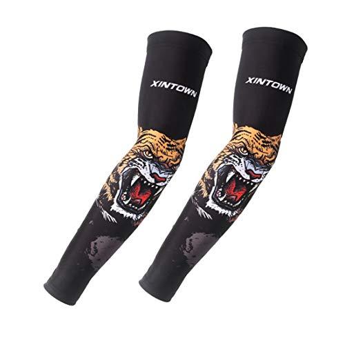 lschte temporäre weiche Tattoo Ärmel Body Art Armstrümpfe Halloween Sommer für Männer, Frauen (Farbe : Tiger line, Size : L) ()