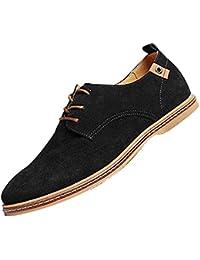 Gleader NUEVOS zapatos de gamuza de cuero de estilo europeo oxfords de los hombres casuales Negro(tamano 38)