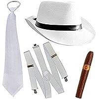 thematys® Al Capone Mafia Gangster Chapeau + Cravate + Bretelles + Cigare - 20 Costume Set pour Les Femmes et Les Hommes - Parfait pour Le Carnaval