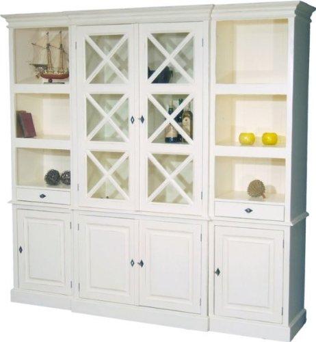 Casa Padrino Großer Shabby Chic Landhaus Stil Schrank mit 4 Türen und 2 Schubladen - Buffetschrank - Schrank Esszimmer