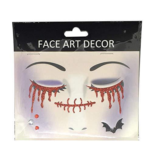 Vektenxi Gesicht Dekor Glitter Temporäre Tätowierung Aufkleber Halloween Party Stage Make-up Prop FS02 Langlebig und nützlich