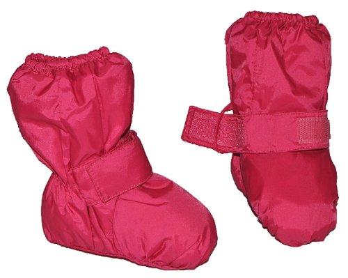 Überziehschuhe mit langem Schaft - Größe: 9 Monate bis 1,5 Jahre - wasserdicht leicht anzuziehen - Thermo gefüttert Fleece - pink rosa Baby Regenfüßling Füßlinge - Babyschuhe