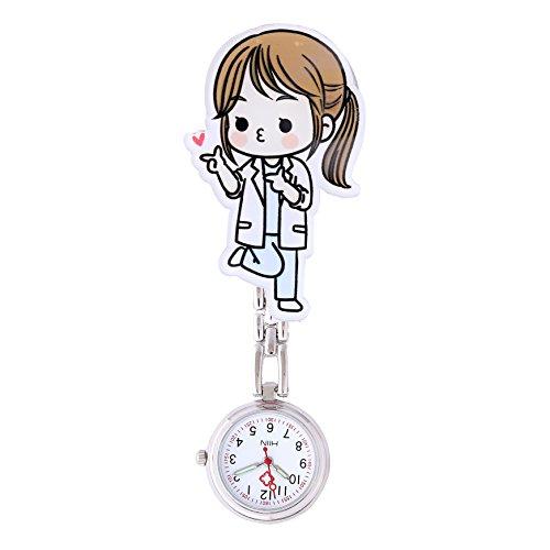 Moda Linda Reloj de Bolsillo para Enfermera - Clip-on Colgante Hanging Números Arábigos Dial Redondo Reloj de Bolsillo para Paramédico Doctor, Doctor Encantador
