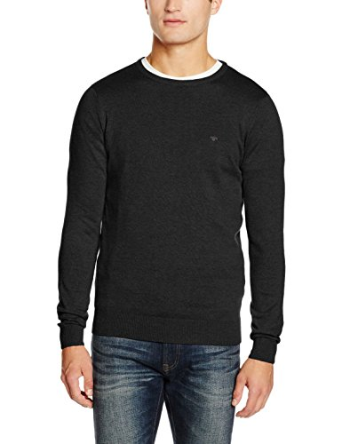 TOM TAILOR Herren Pullover Basic Crew-Neck Sweater, Grau (Black Grey Melange 2572), Large