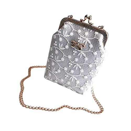 Hungrybubble Frauen Kleine Handtasche Umhängetasche PU Leder Handy Geldbörse Für Mädchen (Color : Silver)