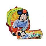 Zaino Zainetto Asilo Disney Topolino con Astuccio Tombolino Kit Completo Mickey Mouse per Bambini Scuola 2017