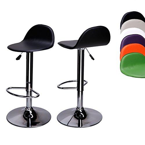 Cclife 2x sgabelli da bar sedia cucina con schienale cromato altezza regolabile girevole, colore:black