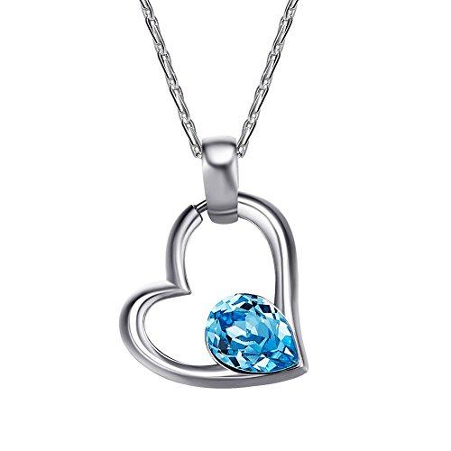 DEQIAODE Damen Halskette aus 925er Sterlingsilber Herzförmiger Anhänger mit Kristallen mit Swarovski Elementen