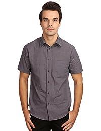 Reevolution Men's Self Design Blue Cotton Shirt (MCHS310311)