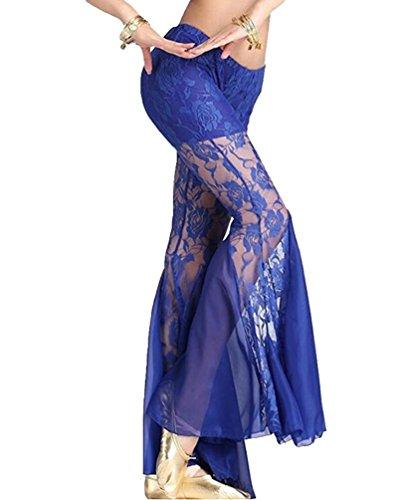 YuanDian Mujer Color Sólido Slim Fit Pierna Ancha Danza de Vientre Pantalon Bordado Perspectiva Oriental Tribal Arabe Belly Dance Trajes Pantalones Azul M