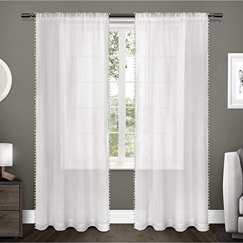 Exklusive Home Vorhang mit Pompon-Rand, strukturierter Vorhang, eingefasst, zum Aufhängen mit Stange, Fenstervorhang, Paar, Textil, weiß, 96