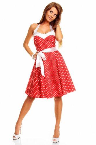 Neckholder Rockabilly Kleid 50er Jahre mit Pünktchen, ROT - 3