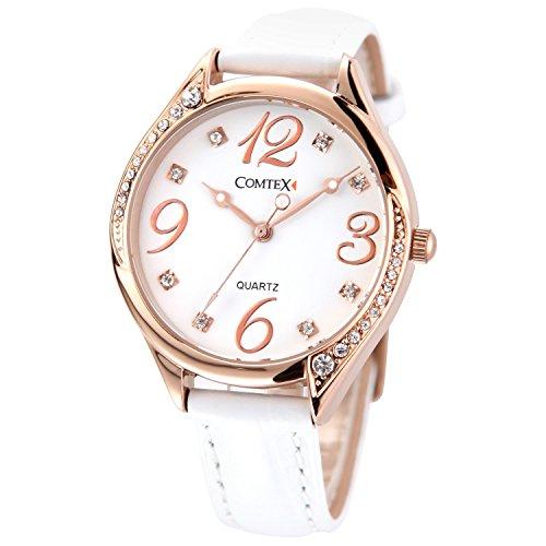 Comtex Montre Femme Or Rose Analogique Quartz avec Bracelet Cuir Blanc Lunette Cristal Mode