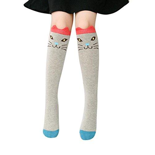 SMARTLADY - Calcetines hasta la Rodilla de Animal lindos Medias para Niñas (Gris)
