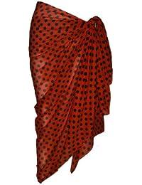 Red Cotton Sarong with Black Polka Dot Design