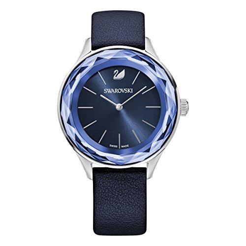 Swarovski Damen Octea Nova Armbanduhr für Frauen, blaues Lederarmband, Edelstahl Finish 5295349