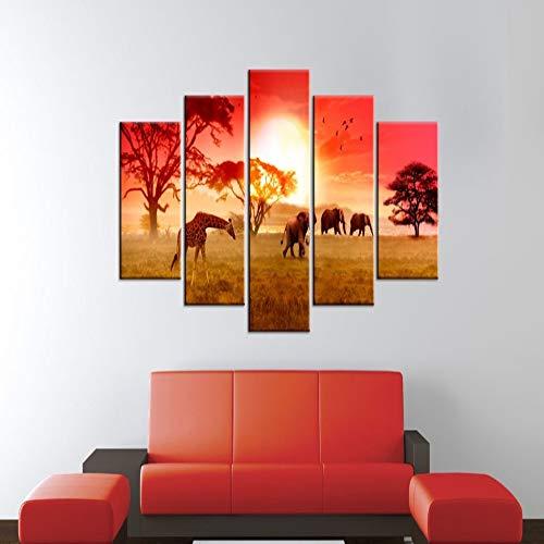 adgkitb canvas 5 Panel Wandbilder Für Wohnzimmer Bild Drucken Malerei Auf Leinwand Wandkunst Wohnkultur Wohnzimmer Leinwand