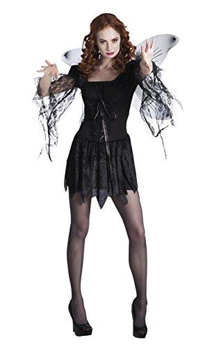 Tüll Machen Kostüm Geist (Fancy Ole - Damen Frauen Karnevalskomplettkostüm Dark Angel , Schwarz, Größe)