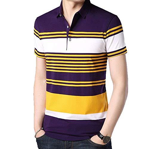 Polohemd Herren Mode Kurzarm Casual Shirts Baseball Fan Polo Kleidung Shirts Sommer Casual Gestreiftes Revers Poloshirt Tops (Color : Gelb, Size : 3XL)
