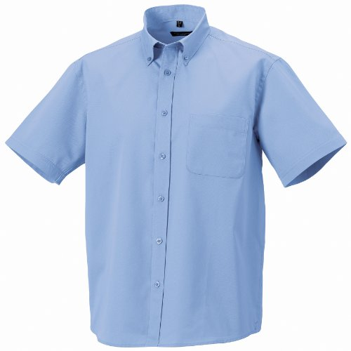 Russel Collection Herren Twill Hemd, Kurzarm Schwarz