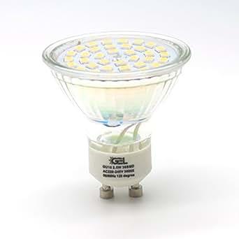gel gu10 2 5watts led lampen led gl hbirnen 36smd glas strahler 180 lichtstrom 25w halogenlicht. Black Bedroom Furniture Sets. Home Design Ideas