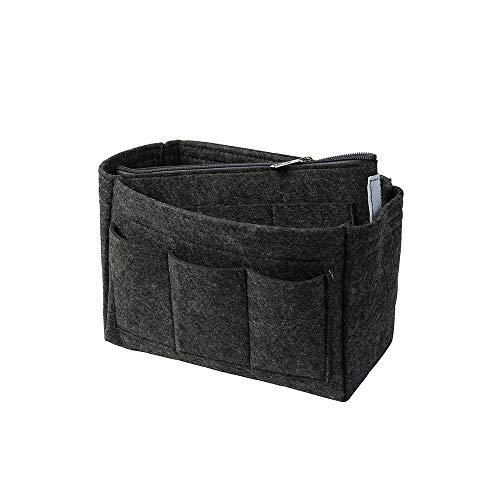 Taschenorganizer aus Filz, dunkelgrau, S (Farbe & Größe wählbar) inkl. separater Tasche mit Reißverschluss | Organizer für Handtaschen, Taschen, Rucksäcke -