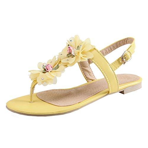 YE Damen Zehentrenner Flache Knöchelriemchen Sandalen mit Blumen und Schnalle Bequem Süß Schuhe 9KJCqO